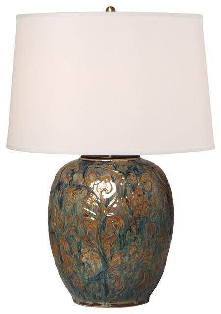 Botanical Relief Vase Lamp, Blue Bayou