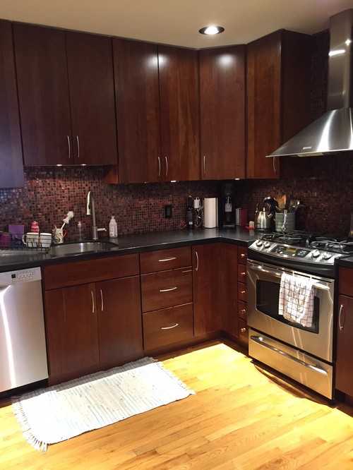 Clueless! Help Kitchen Countertop + Backsplash To Match Dark Cabinets