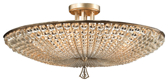 John Richard Six Light Beaded Crystl Semi Flush Traditional