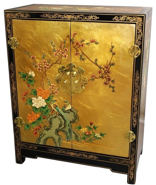 Oriental Furniture Gold Leaf Lacquer Cabinet - Accent Chests And Cabinets | Houzz