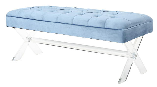 Eclectic Tufted New Velvet Ottoman With Clear Acrylic Legs, Icy Blue.