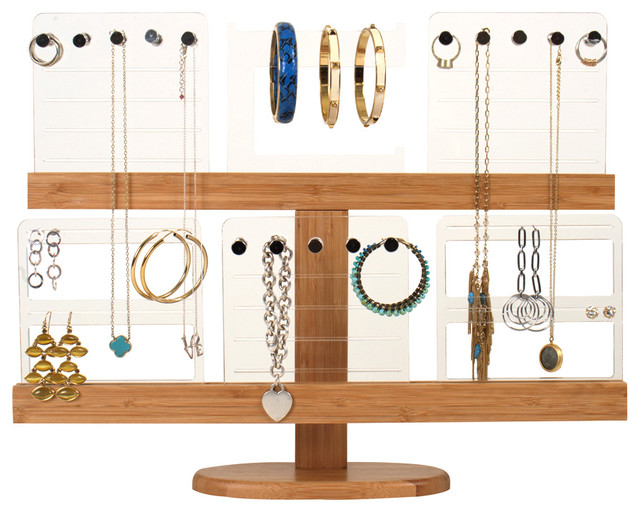 Deluxe Bamboo Jewelry Organizing Stand