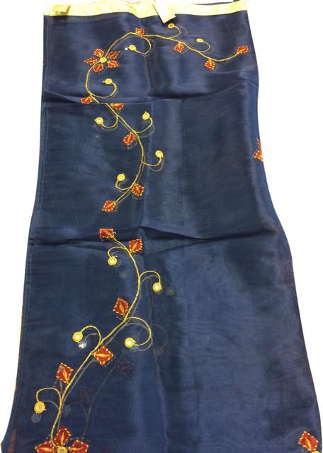2 Indian Sari Sheer Organza Curtains Star Burst Blue Mirror Embroidered Window P.