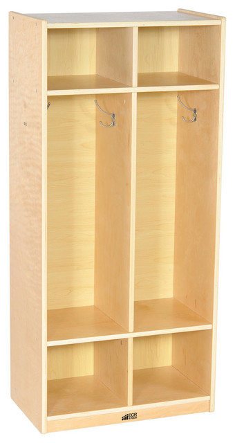 High Quality Ecr4 Kids Home 2 Section Straight Books Coat Shoes Storage Locker Natural  Contemporary Kids
