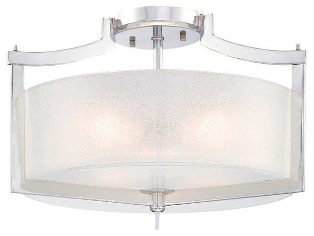 Chrome 3 Light Semi-Flush Ceiling Fixture From The Clarte Collection.