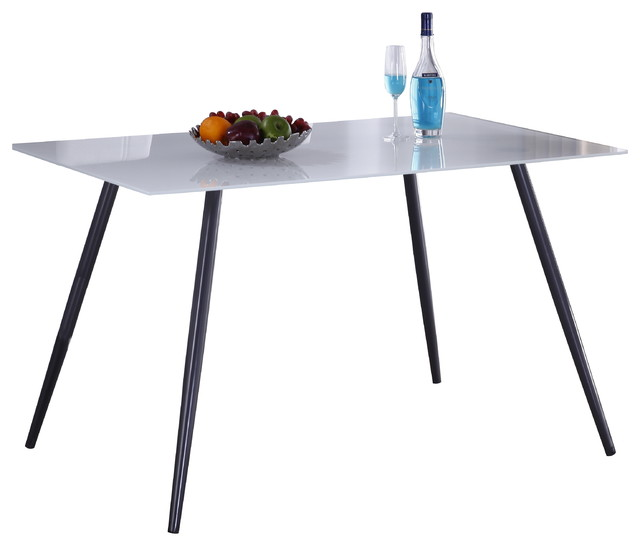 Grey Metal Frame Rectangular Dining Table with Tempered  : dining tables from www.houzz.com size 640 x 546 jpeg 29kB