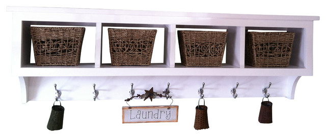 Wood Cubby Wall Shelf Coat Rack With 4 Cubby Holes