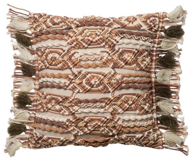 """Loloi Pillow Cover With Down Insert, Brown and Ivory, 18""""x18"""""""