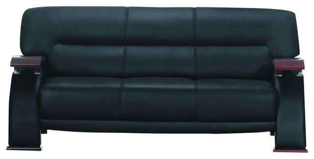 Black Leather And Wood Arm Sofa