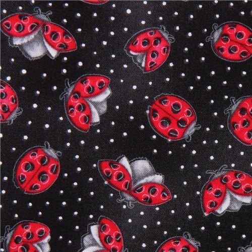 black ladybug fabric from the USA Morning Mist