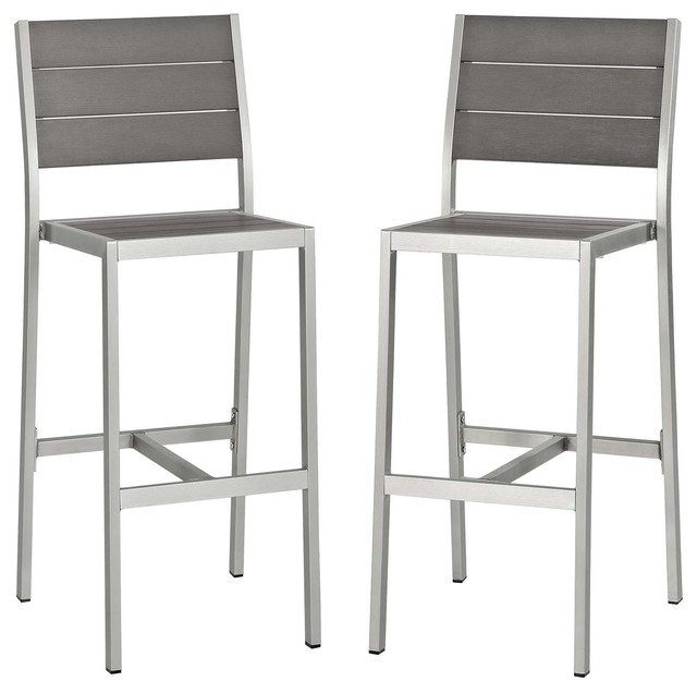 Stupendous Shore Armless Bar Stool Outdoor Aluminum Set Of 2 Silver Gray Squirreltailoven Fun Painted Chair Ideas Images Squirreltailovenorg
