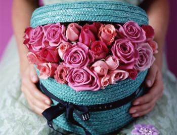 Jane Packer Hatbox Flower Arrangement, Blue Rose