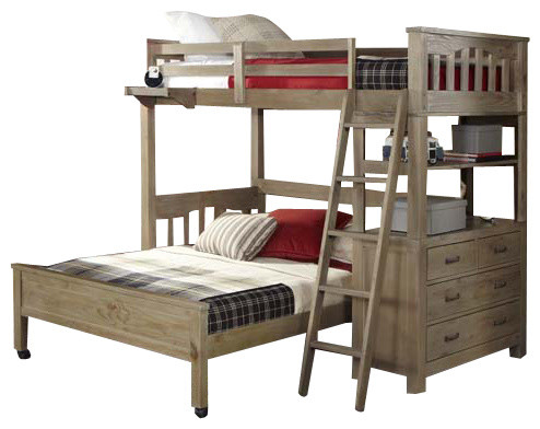 Crosspointe Twin Size Storage Loft Bed With Full Size Bottom Bed, Driftwood, Lof.