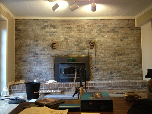 I just got finished whitewashing our brick wall in our basement. I