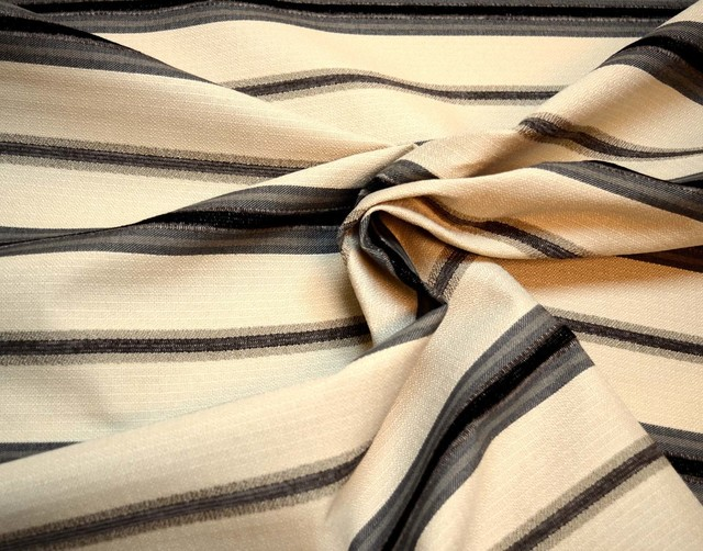 The Fabric Co Black Amp Tan Horizontal Striped Upholstery