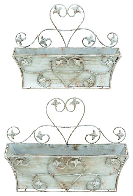 Vintage Set of 2 Metal Wall Planters White Heart Patio Garden Decor 50406  outdoor-pots