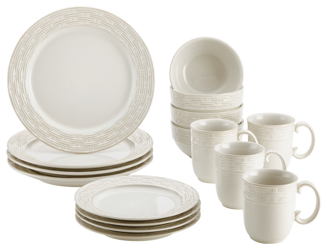 Paula Deen Stoneware Dinnerware 16-Piece Set Vineyard Basket Cream  sc 1 st  Houzz : dinnerware 16 piece sets - pezcame.com