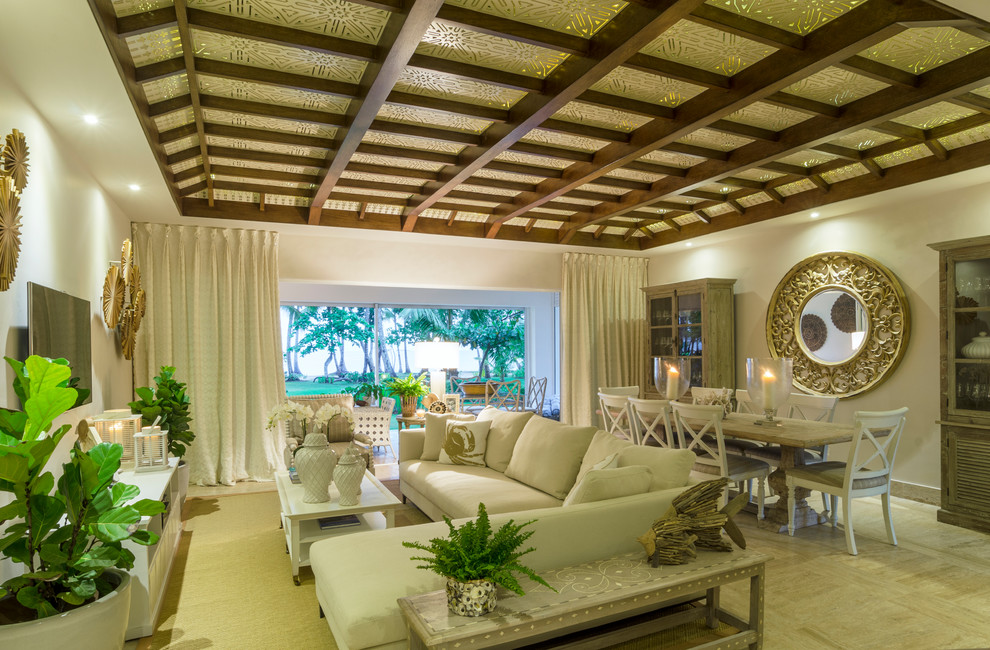 Inspiration for a beach style home design remodel in Other