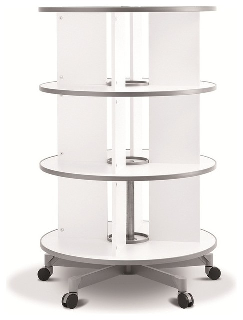 Moll One Turn Binder and File Carousel Shelving, Three Tier, White - Contemporary - Filing ...