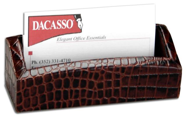 Crocodile embossed business card holder modern desk accessories crocodile embossed business card holder brown colourmoves