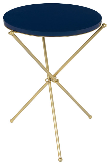 Emellyn Tripod Side Table With Round Wood Top And Metal Legs, Navy Blue And Gold.