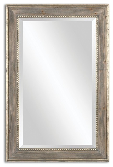 Large 36 Antiqued Pine Wall Mirror With Gold Accents.