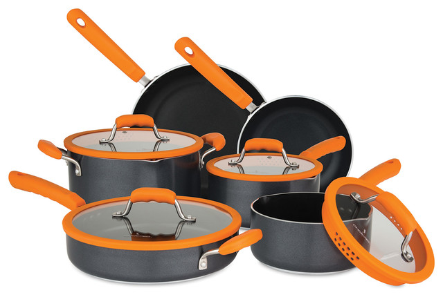 10-Piece Aluminum Cookware Set With Silicone Strainer Lids