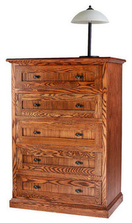 Mission Oak 5-Drawer Chest, Chestnut Oak, 34w X 48h X 18d