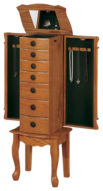 Classic Oak Jewelry Armoire Chest Green Felted Drawers Side Doors Organizer - Transitional ...
