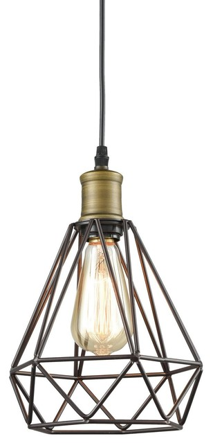 Vintage Polygon Wire Pendant Lighting Oil Rubbed Bronze