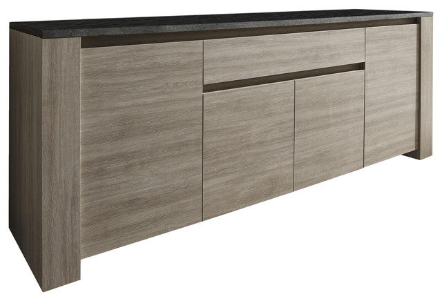 Elba Sideboard With Drawer, Oak and Dark Grey Marble Effect