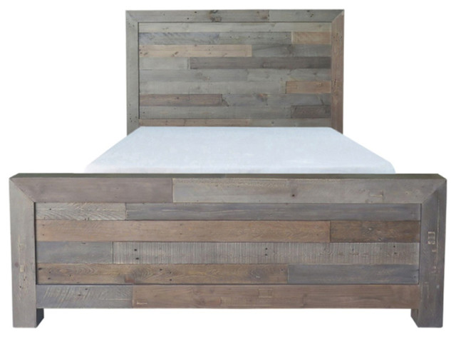Reclaimed Gray Pine Bed, Eastern King.