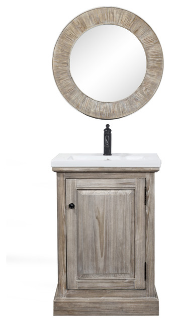Rustic Style 24 Inch Bathroom Vanity With Ceramic Single Sink No Faucet