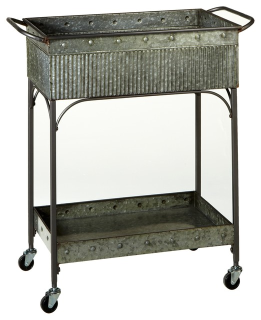 Galvanized 2 Tier Cart Industrial Bar Carts By