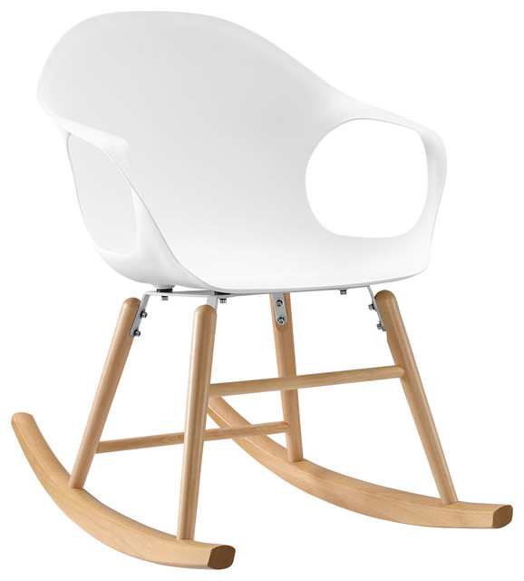 ... Contemporary Rocking Chair, White Plastic scandinavian-rocking-chairs