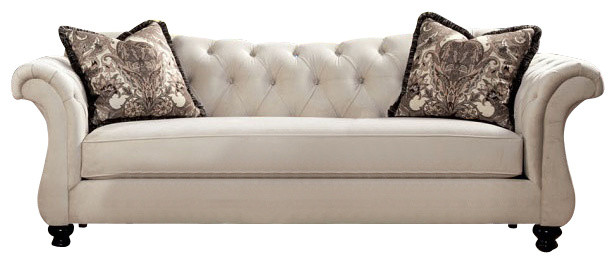 Damask Beige Fabric Sofa Rolled Arm