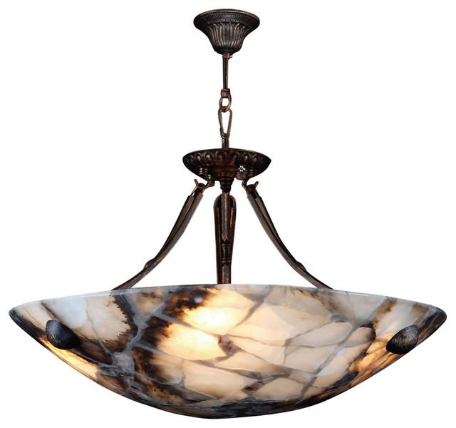 Worldwide lighting pompeii 4 light flemish brass finish for Natural stone lighting