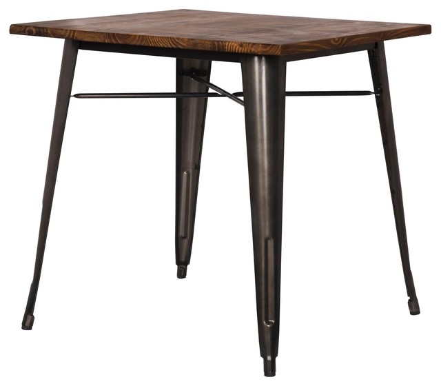 Grand Metal Square Dining Table Gunmetal Industrial Tables