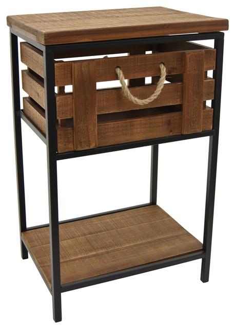 Three Hands Wood Metal Side Table