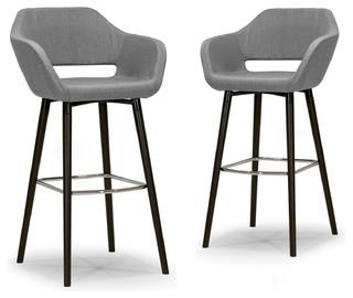 Adel Mid-century Retro Modern Gray Fabric Bar Stools With Beech Legs, Set of 2