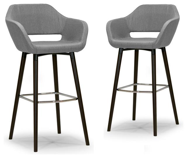 Adel Mid Century Retro Modern Gray Fabric Bar Stools With Beech Legs Set Of