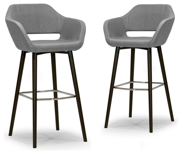 Adel Mid century Retro Modern Gray Fabric Bar Stools With  : midcentury bar stools and counter stools from www.houzz.com size 640 x 540 jpeg 56kB