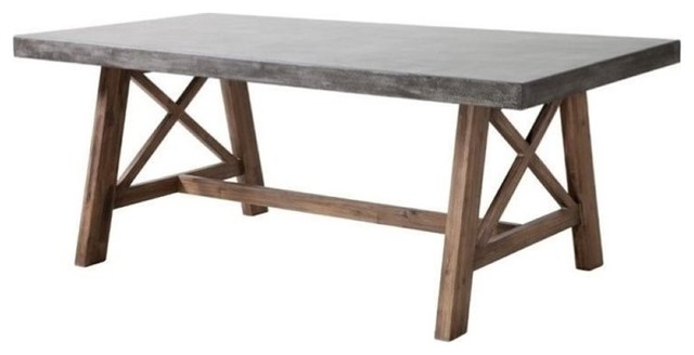 Modern Contemporary Outdoor Patio Dining Table, Cement, Natural.