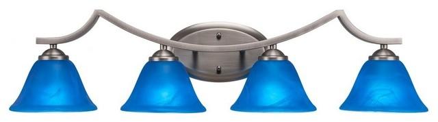 Zilo 4-Light Bath Bar Graphite Blue Italian Glass