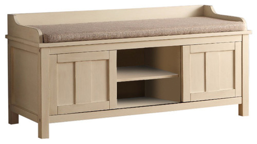 Classic Bench with Storage, Fabric & Cream