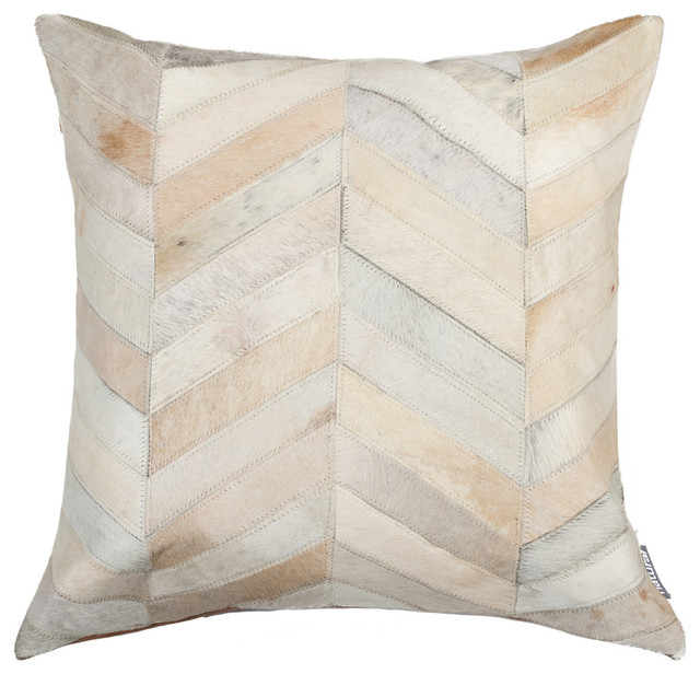 Natural Decorative Pillow : Natural Torino Chevron Pillow, 18