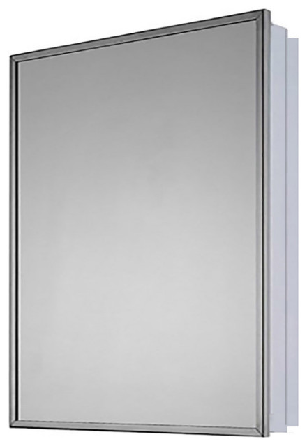 """Medicine Cabinet, 16""""x22"""", Bright Annealed Stainless Steel Frame"""