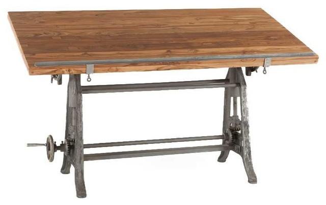 Industrial Tilt Top Adjustable Height Drafting Style Desk.