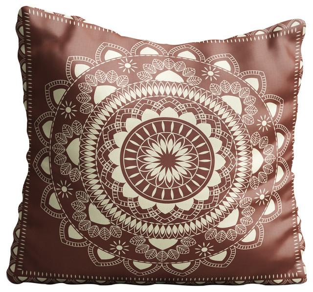 Boho Indian Mandala Brown Throw Pillow Case
