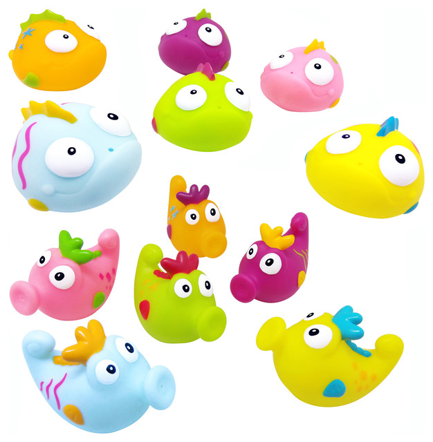 Bathroom Accessories Kids konfetti set of 12 bath squirters, fish and seahorses